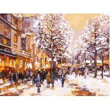Живопись по номерам Зимний вечер на бульваре, 30x40, Белоснежка