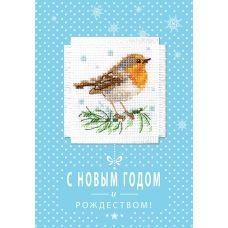 Набор для вышивания крестом Малиновка: открытка, 5,7x5,7, Алиса