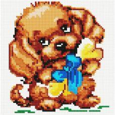 Алмазная мозаика Собачка с подарком, 20x20, полная выкладка, Белоснежка