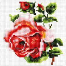 Алмазная мозаика Изящная роза, 20x20, полная выкладка, Белоснежка