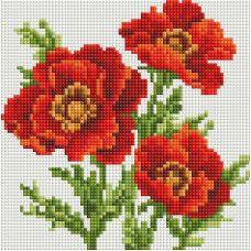 Алмазная мозаика Красные маки, 20x20, полная выкладка, Белоснежка