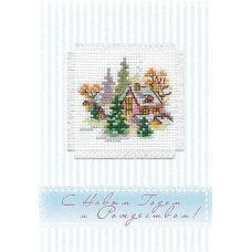 Набор для вышивания крестом Зимний домик: открытка, 5,7x5,7, Алиса