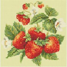 Алмазная мозаика Спелая клубника, 30x30, полная выкладка, Белоснежка