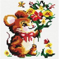 Алмазная мозаика Мышонок с букетом, 20x20, полная выкладка, Белоснежка