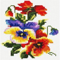 Алмазная мозаика Цветочки, 20x20, полная выкладка, Белоснежка