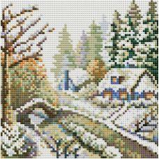 Алмазная мозаика Зима, 20x20, полная выкладка, Белоснежка