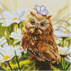 Алмазная мозаика Сова Везучка, 30x30, полная выкладка, Белоснежка