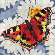 Алмазная мозаика Бабочка в ромашках, 30x30, полная выкладка, Белоснежка
