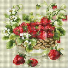 Алмазная мозаика Садовая земляника, 20x20, полная выкладка, Белоснежка