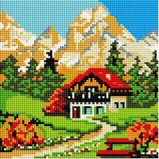 Алмазная мозаика Домик у горы, 20x20, полная выкладка, Белоснежка