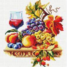 Алмазная мозаика Натюрморт с виноградом, 30x30, полная выкладка, Белоснежка