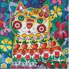Алмазная мозаика Кот в окошке, 30x30, полная выкладка, Белоснежка