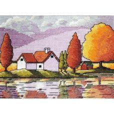 Набор для вышивания крестом Осеннее отражение, 14x19, НеоКрафт