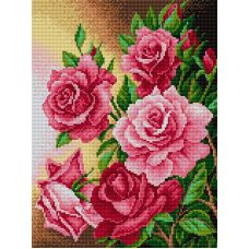 Алмазная мозаика Розы, 30x40, полная выкладка, Вышиваем бисером