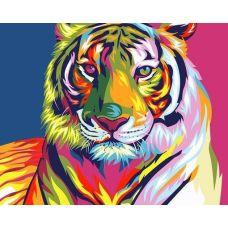 Живопись по номерам Радужный тигр, 40x50, Paintboy, GX9203
