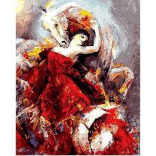 Живопись по номерам Девушка в красном и лошадь, 40x50, Paintboy, GX8915