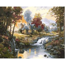 Живопись по номерам Дом с водопадом, 40x50, Paintboy, GX7201
