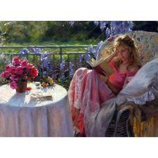 Живопись по номерам Девушка с книгой, 40x50, Paintboy, GX7195