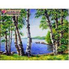 Мозаика стразами Березы у озера, 30x40, полная выкладка, Алмазная живопись