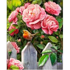 Мозаика стразами Птичка в саду, 40x50, полная выкладка, Алмазная живопись