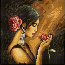 Алмазная мозаика Испанская красавица, 40x40, полная выкладка, Белоснежка