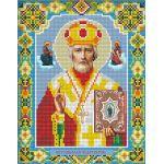 Мозаика стразами Икона Николай Чудотворец, 22x28, частичная выкладка, Алмазная живопись