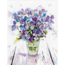 Набор для вышивания крестом Голубые виолы, 19x22, Овен