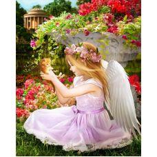 Мозаика стразами Ангел в саду, 40x50, полная выкладка, Алмазная живопись