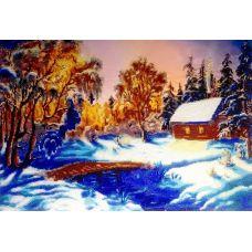 Набор для вышивания бисером на шелке Зимний вечер, 35x48, Fedi