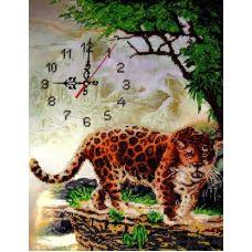 Набор для вышивания бисером на шелке Часы с леопардом, 30x40, Fedi