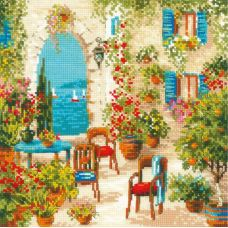 Набор для вышивания крестом Южный дворик, 30x30, Риолис, Сотвори сама
