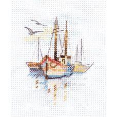 Набор для вышивания крестом Лодки на рассвете, 6x9, Алиса