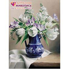 Мозаика стразами Белые тюльпаны, 30x40, полная выкладка, Алмазная живопись