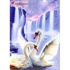 Мозаика стразами Лебединая пара, 50x67, полная выкладка, Алмазная живопись