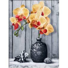 Мозаика стразами Орхидея на мраморе, 30x40, полная выкладка, Алмазная живопись