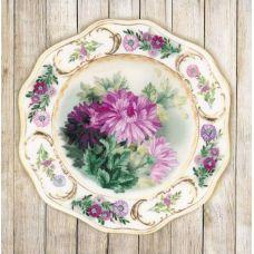 Набор для вышивания гладью Тарелка с хризантемами, 21x21, Риолис, Сотвори сама