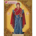 Мозаика стразами Икона Богородица Нерушимая стена, 22x28, частичная выкладка, Алмазная живопись