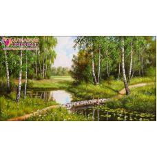 Мозаика стразами Березовый мостик, 60x33, полная выкладка, Алмазная живопись