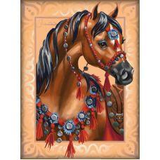 Мозаика стразами Арабский скакун, 30x40, полная выкладка, Алмазная живопись