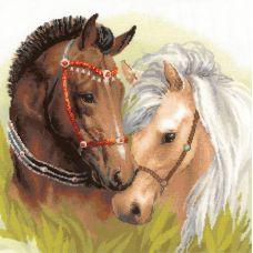 Набор для вышивания крестом Пара лошадей, 40x40, Риолис, Сотвори сама