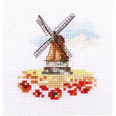 Набор для вышивания крестом Мельница в маковом поле, 7x7, Алиса