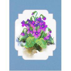 Набор для вышивания с бисером и паспарту Весенние цветы, 24x26 (12x15), Матренин посад