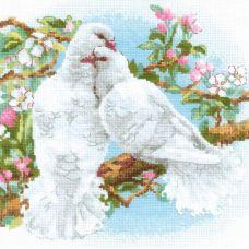Набор для вышивания крестом Белые голуби, 25x25, Риолис, Сотвори сама