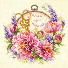 Набор для вышивания крестом Пионы для умелицы, 25x25, Чудесная игла