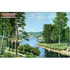 Мозаика стразами Российский пейзаж, 50x33, полная выкладка, Алмазная живопись