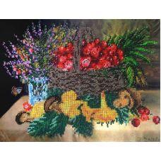 Набор для вышивания бисером на шелке Натюрморт с грибами, 25x34, Fedi