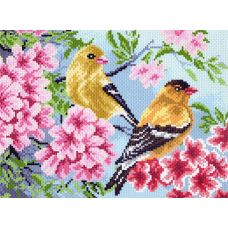 Набор для вышивания бисер-нитки Птицы в саду, 28x37 (17x23), Матренин посад