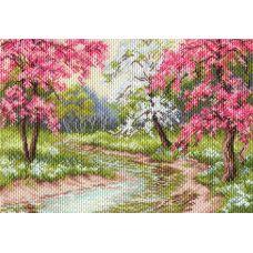 Набор для вышивания бисер-нитки Цветущий сад, 37x49 (27x39), Матренин посад