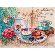 Набор для вышивания бисер-нитки Время пить чай, 37x49 (30x40), Матренин посад