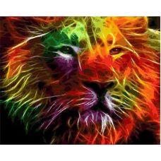 Живопись по номерам Неоновый лев, 40x50, Paintboy, GX4605